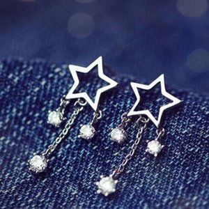 NEW 925 Sterling Silver Diamond Star Earrings